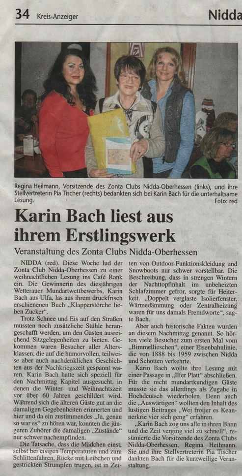 Zonta Club im Lesung im Cafe Rank